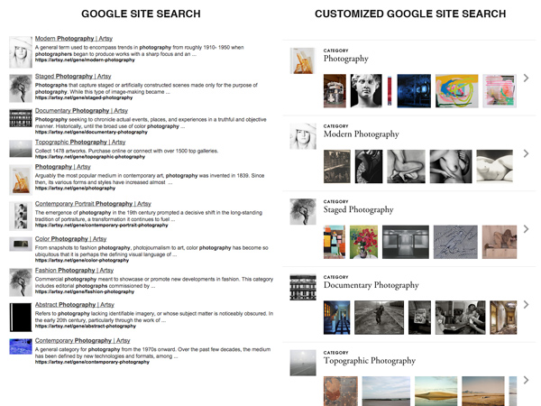 Customized Google Site Search at Artsy