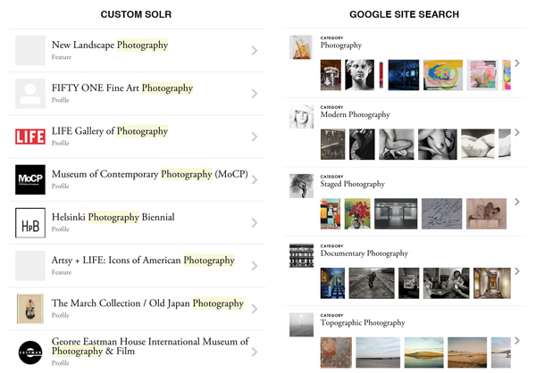 Search for photography on artsy