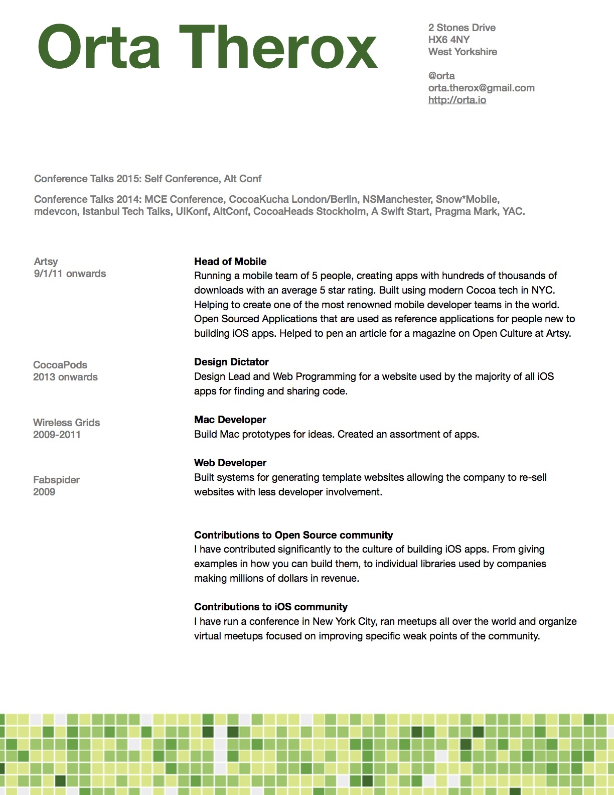 2015 my cv - Ios Developer Resume