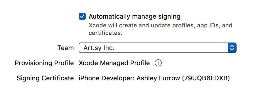 Automatic code signing settings